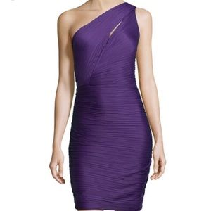 Halston Heritage one shoulder ruched dress.